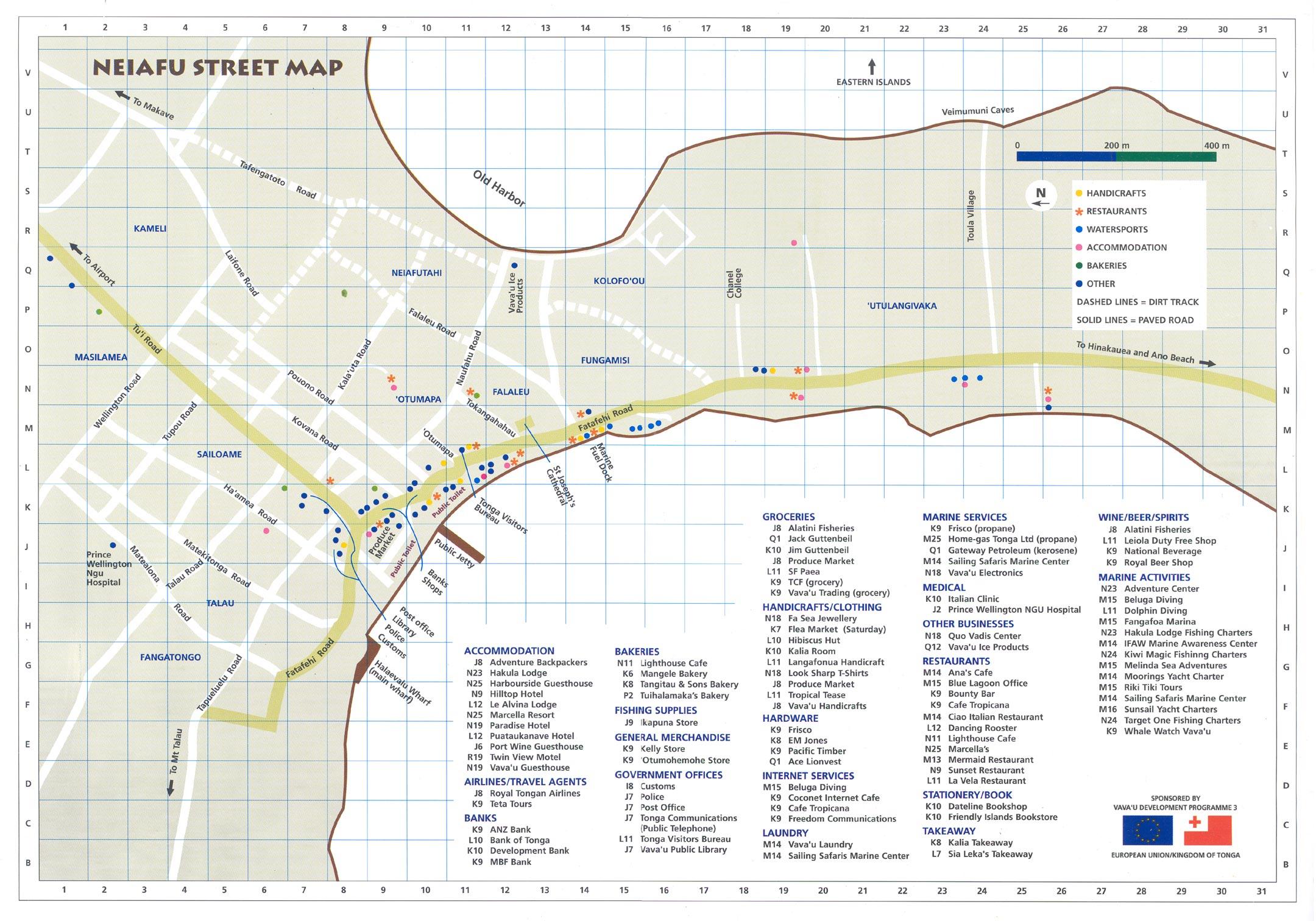 Maps of Vava'u and Surrounding Islands - Whales of Tonga Map U on